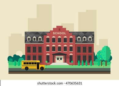 School building with school yellow bus in flat style. Vector education banner.