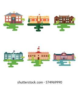 School Buildings Illustration