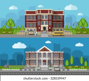 School buldings outdoors flat horizontal banner set isolated vector illustration