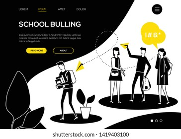 School bullying - flat design style web banner with copy space for text. Black, yellow and white composition with sad boy feeling ashamed, a group of teenagers mocking him. Problems at school concept
