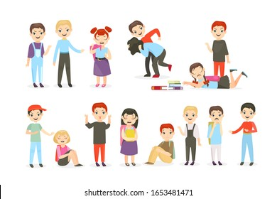 School bullying flat vector illustrations set. Physical and psychological abuse, classroom conflicts. Fighting children, teasing pupils cartoon characters collection isolated on white background