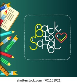 School bunner with lettering
