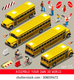 School Bus. Back to School People and Vehicles.3D Flat Vector Isometric People Set Yellow School Bus with Teacher Students Assistants Volunteers. Vehicle Collection 3D World Vector Image.