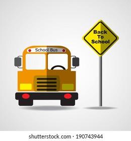 School Bus with Back To Schoo sign. Vector EPS 10.