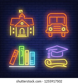 School bus, building, books and graduation cap neon signs set. School and education design elements. Night bright neon sign, colorful billboard, light banner. Vector illustration in neon style.