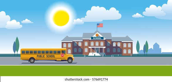 A school bus and school building. Vector illustration .eps10