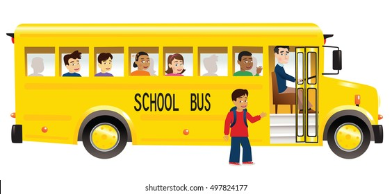 School bus and children.