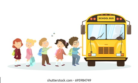 School bus and children. Isolated cartoon character on white background.