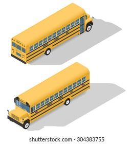School bus detailed isometric icons set front and rear view graphic illustration design