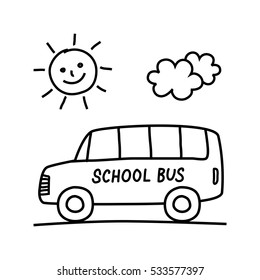 School bus drawing on white background