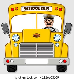 School Bus with Driver isolated on a white background. Flat style vector illustration