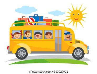 School bus field trip cartoon. Cartoon of yellow School bus traveling on a school trip. Vector available.