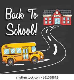 school bus going to school using coloring doodle style with back to school text on chalkboard background