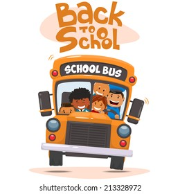 School bus and Happy Children. Vector illustration of School theme.