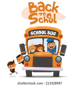 School bus and Happy Children. Vector illustration of School theme.