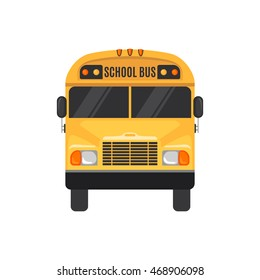 School Bus Icon in flat style on white background. Vector illustration