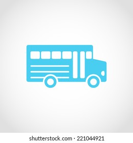 School Bus Icon Isolated on White Background