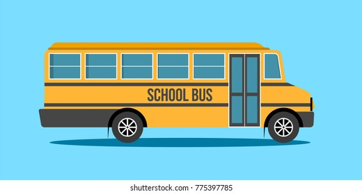 School Bus, Illustration of school kids riding yellow schoolbus transportation education