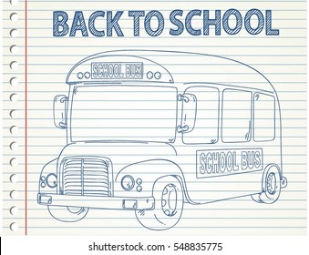 SCHOOL BUS ISOLATED ON BLANK PAPER