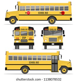 School bus. Isolated on white background. Illustration in a flat style. Vector