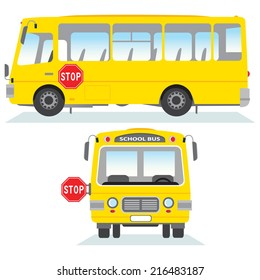 School bus isolated. School bus vector in side and front view.