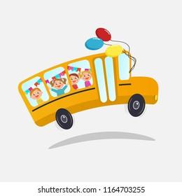 School bus with kids.