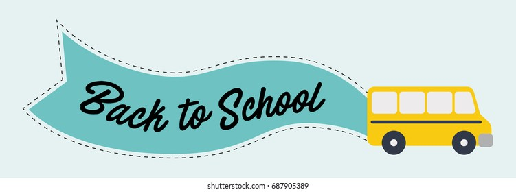 "School bus with message ""back to school"" on blue flag. Vector illustration."