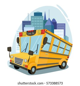 School bus on the background of the city Vector Art