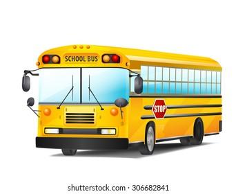 school bus on white. vector illustration