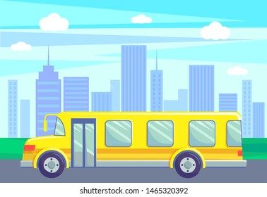 School bus riding on road of small town vector, cityscape with skyscrapers and high buildings. City with green parks and grass by highway, minibus. Flat cartoon