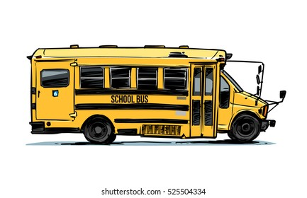 School Bus side view. Color illustration