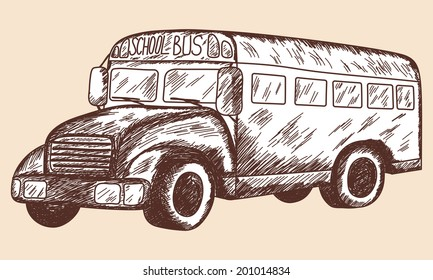 School bus sketch. EPS 10 vector illustration without transparency.