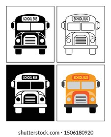 School bus symbol presented as pictogram, black and white, line icons and flat icons. Set of transportation icons.