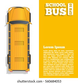 School bus. The template for the presentation. Vector illustration.