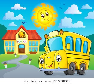 School bus thematics image 2 - eps10 vector illustration.