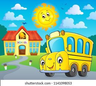 School bus thematics image 2 - eps10 vector illustration.