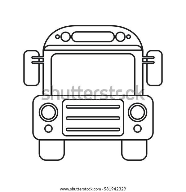 school bus transport design thin line