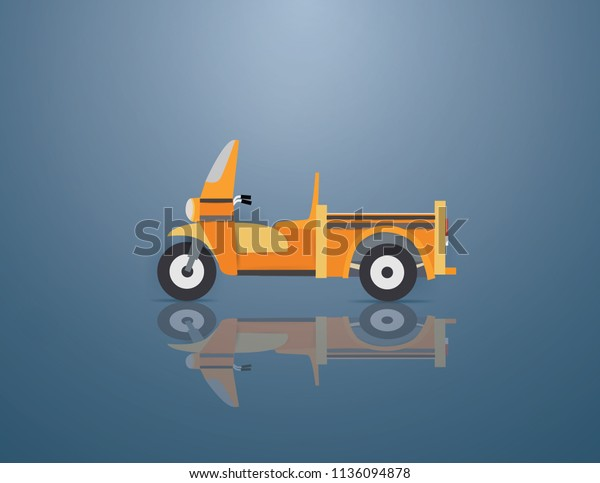 School Bus Tricycle On Blue Backgroundpaper Stock Vector