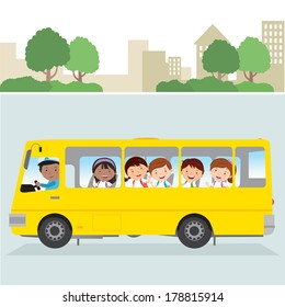 School bus. Vector illustration of a school bus driver and happy school kids on the road.