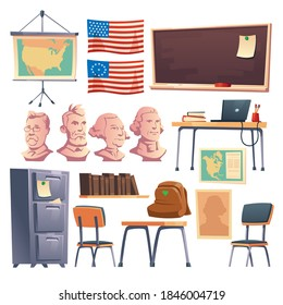 School cabinet of history interior furniture and stuff. Teacher table with laptop, blackboard, backpack, chairs, bookshelf and drawer, american flag, map and president busts, Cartoon vector set