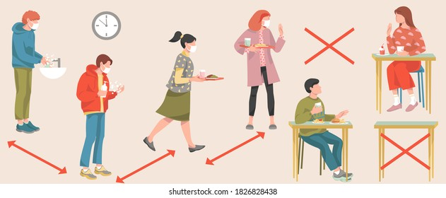 School cafeteria during coronavirus covid-19 pandemic new normal concept Teen students boys and girls wearing medical face mask keep social distancing wash hands use sanitizer eating in school canteen
