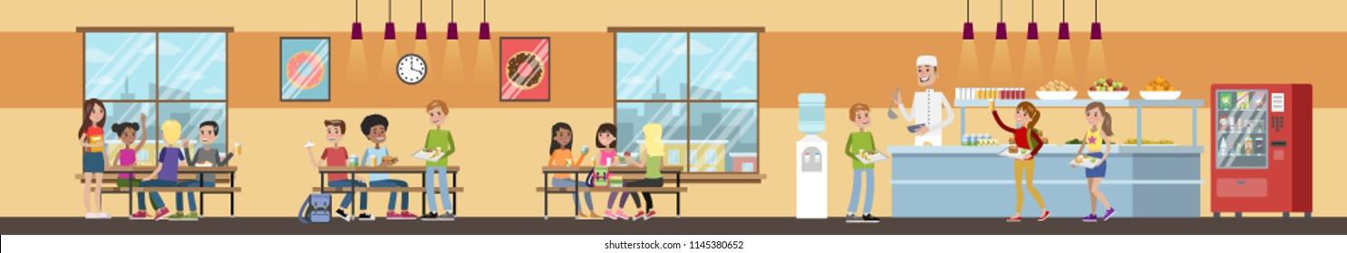 School cafeteria interior. Children have lunch in the dining room. School canteen. Vector flat illustration