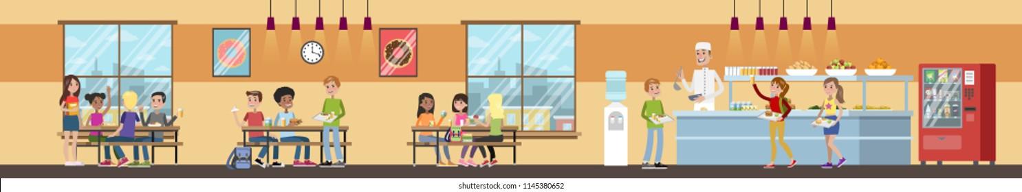 Интерьер школьной столовой. Дети обедают в столовой. Школьная столовая. Плоская векторная иллюстрация