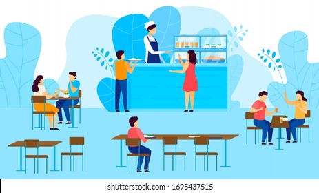 School canteen, cafeteria, children take tray with food, eating, drinking juice at tables cartoon vector illustration. Catering restaurant and canteen freshly cooked warm meals for schoolmates .
