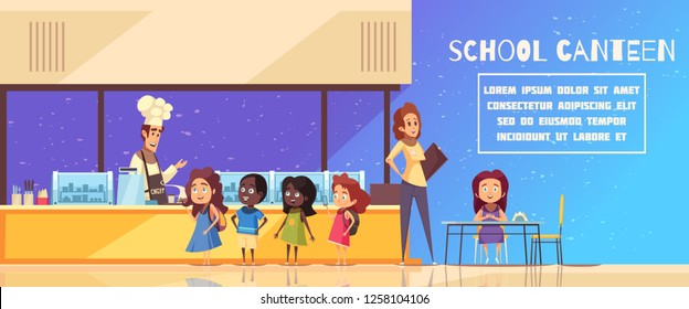 School canteen in yellow blue color with chef behind counter teacher and pupils cartoon vector illustration