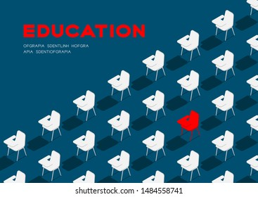 School chair with writing pad 3D isometric pattern, Education classroom concept poster and banner horizontal design illustration isolated on blue background with copy space, vector eps 10