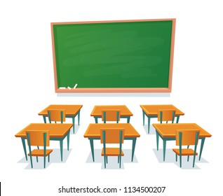 School chalkboard and desks. Empty blackboard, elementary classroom wooden desk table and chair education board furniture colorful isolated cartoon vector illustration