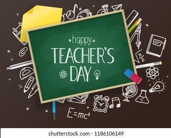 School chalkboard with different education stuff. Happy teachers day