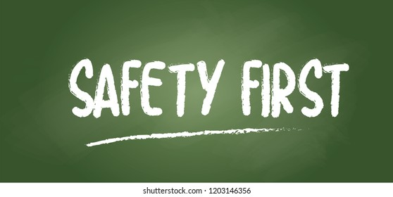 School chalkboard Think safety first logo icon symbol Vector sign Safety First Octagonal Shape Sign yellow square warning sign fun funny Hard hat Sign chalk board World day Safety and Health at Work