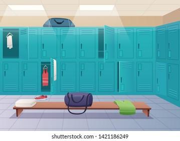 School changing room. College gym sport lockers changing room interior classroom with equipment and corridor vector cartoon background. Closet furniture, empty wardrobe training room illustration